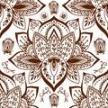 Henna tattoo mehndi flower doodle ornamental decorative indian design seamless pattern paisley arabesque embellishment Royalty Free Stock Photo