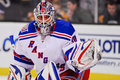 Henrik Lundqvist makes a glove save. Stock Photo
