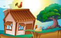 Hens and house illustration of a in a beautiful nature Royalty Free Stock Images