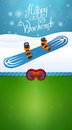 Heppy winter weekend blue snowboard and ski goggles Stock Photo