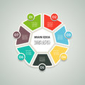 Heptagon infographic. Chart, diagram with 7 steps, options, parts, processes. Vector design element. Royalty Free Stock Photo