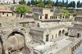 Heracleum view of the ancient roman town of herculaneum including the suburban baths insula iv the old water front and above the Royalty Free Stock Photo