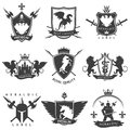 Heraldic Black White Labels Royalty Free Stock Photo