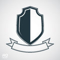 Heraldic blazon illustration, decorative coat of arms. Vector gray defense shield