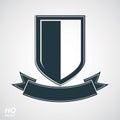 Heraldic blazon illustration, decorative coat of arms. Vector gray defense shield Royalty Free Stock Photo