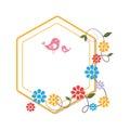 Heraldic border with creeper blossom and cute birds