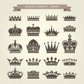 Heraldic crowns set - monarchy coronet Royalty Free Stock Photo