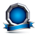 Heraldic 3d glossy blue and gray icon - can be used in web and g Royalty Free Stock Photo