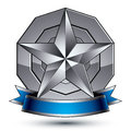 Heraldic 3d glossy blue and gray icon, web design Royalty Free Stock Photo