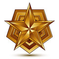 Heraldic d glossy icon can be used in web design and graphic five pointed golden star clear eps vector Royalty Free Stock Images