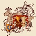 Heraldic design with coat of arms and dragon in vintage style vector illustration shield armor crown for Stock Photo
