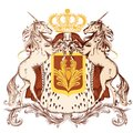 Heraldic design with coat of arms and unicorns vector illustration in vintage style shield crown Royalty Free Stock Images
