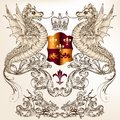 Heraldic design with dragons fleur de lis and shield vector illustration in vintage style crown winged dragon for Royalty Free Stock Photo