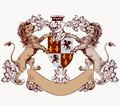 Heraldic design element with hand drawn lions and shield Royalty Free Stock Photo