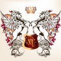 Heraldic design with shield, two winged horses and crown Royalty Free Stock Photo