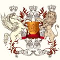 Heraldic Design With Shield, W...