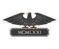 Heraldic eagle with nameplate black Royalty Free Stock Photos
