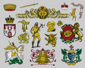 Heraldic elements set 7 Stock Photo