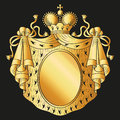 Heraldic emblem shield royal mantle and crown vector illustration Royalty Free Stock Photography