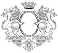 Heraldic frame floral two lions and crown vector illustration Royalty Free Stock Photography