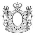 Heraldic frame shield royal mantle and crown vector illustration Stock Image