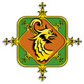 Heraldic golden griffin illustration of a bird design on a white background Stock Images