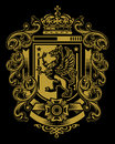 Heraldic griffin crest flourishes banners Stock Image