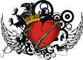 Heraldic griffin red heart tattoo crest insignia