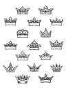 Heraldic king and queen crowns set for design Stock Image