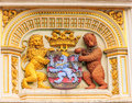 Heraldic lion and bear, town hall Coat of arms , the city arm of Bruges, Belgium, Europe Royalty Free Stock Photo