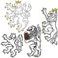 Heraldic lion colored illustrations vector Royalty Free Stock Image