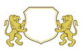 Heraldic lions holding a shield