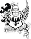 Heraldic lion eagle medieval helmet coat of arms crest Royalty Free Stock Photo