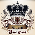 Heraldic Royal design of logotype in antique style with crown, l