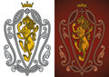 Heraldic royal lion ornate in renaissance style editable vector illustration Stock Photo