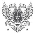 Heraldic shield crest two headed germanic eagle Royalty Free Stock Images