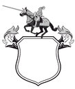 Heraldic shield jousting knight copy space white background Stock Photo