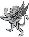 Heraldic symbol lion with wings Stock Photos