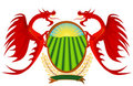 Heraldry, red dragons holding a shield.