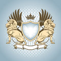Heraldry shield with lion Royalty Free Stock Photo