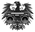 Heraldry style eagle holding a boombox t shirt design Royalty Free Stock Photo