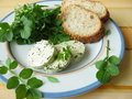 Herb butter with watercress Stock Image