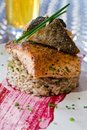 Herb crusted salmon Stock Images