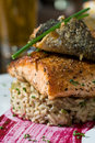 Herb crusted salmon Royalty Free Stock Images