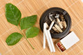 Herb for quit smoking stop harming himself by quitting clausena heptaphylla prong fah thai name murraya siamensis craib used as a Royalty Free Stock Image