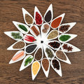 Herb and spice wheel collection in white porcelain bowls forming an abstract over old oak wood background Royalty Free Stock Image