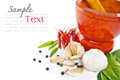Herb and spicy ingredients food Stock Photos