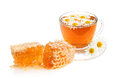 Herbal camomile tea and honey Royalty Free Stock Image