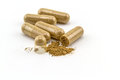 Herbal capsule on white background. Royalty Free Stock Photo