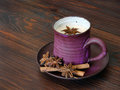 Herbal chai tea with milk traditional latte in handmade ceramic cup Stock Photos